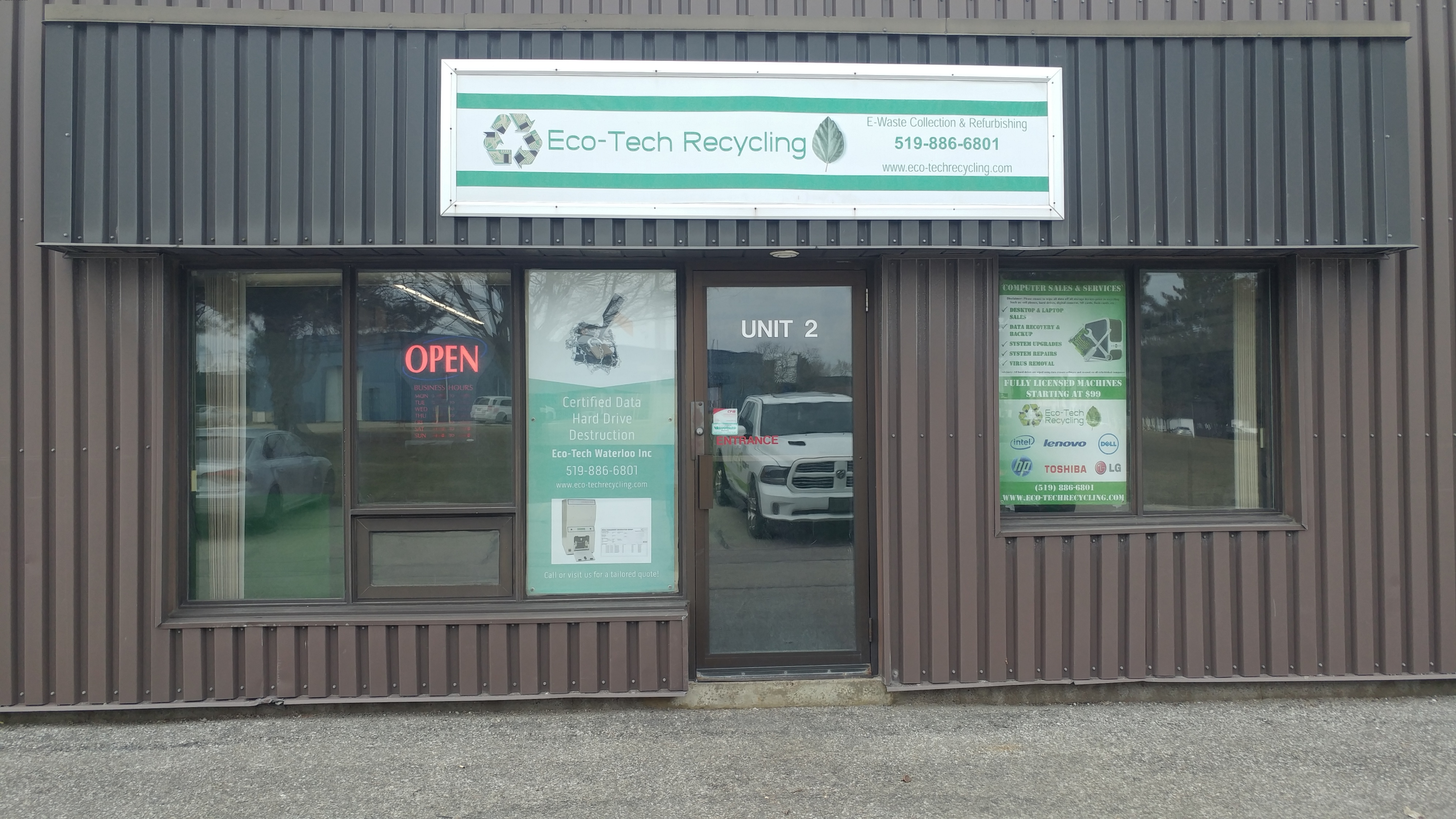 E-waste recycling, certified destruction, refurbished computers